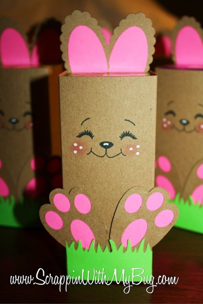 easter crafts for adults, juice boxers covered with brown card, bunny paws and ears, with pink paper details, adorable hand-drawn face