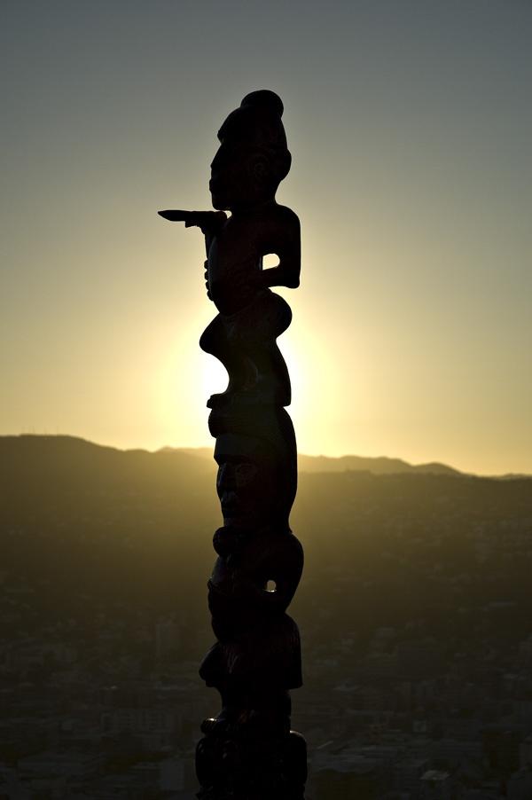 A Maori Pou - Mt Victoria, overlooking the City of Wellington, New Zealand