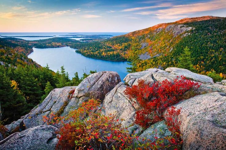 Jordan Pond, Acadia National Park, Maine #travel #fall #foliage