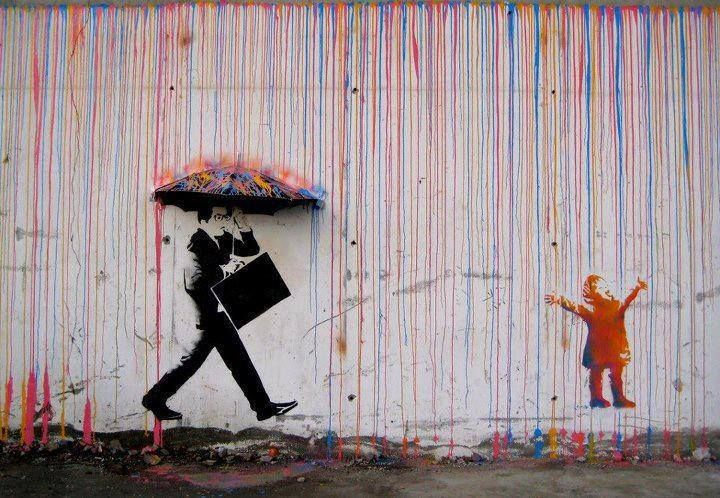 love the curiosity of the child whilst the adult tries to shield himself from something out of the ordinary.
