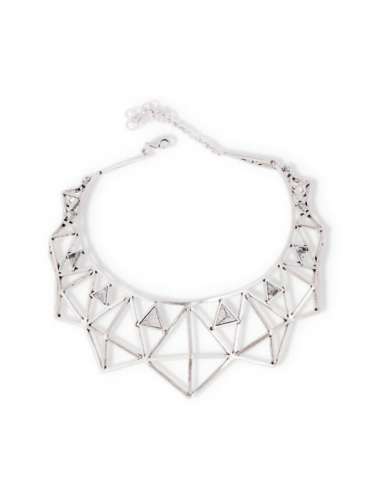 Silver Geometric Choker Necklace by Kate Hewko
