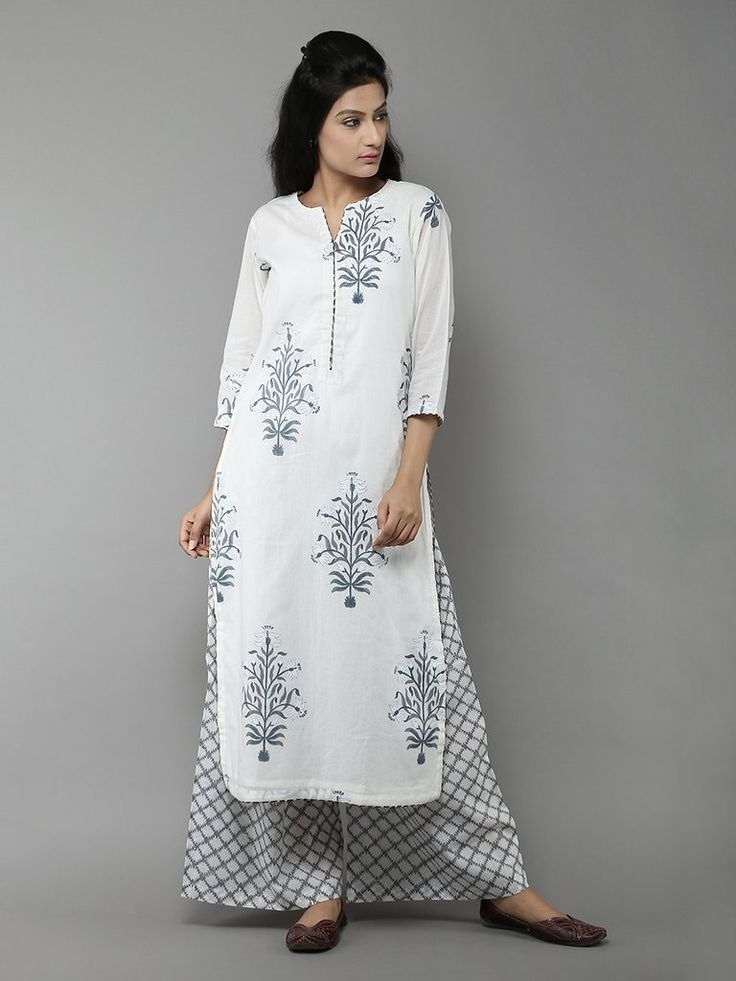 Grey-White Lilypool Cotton Kurta with Palazzo - Set of 2