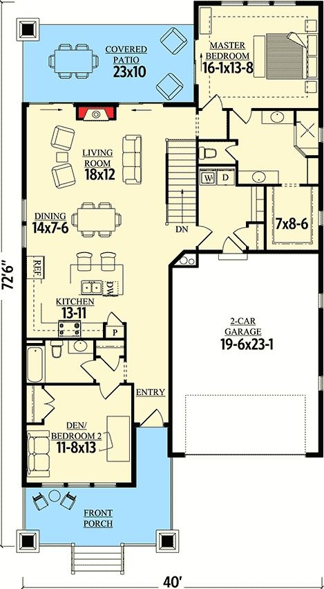 Craftsman Cottage With Sturdy Front Porch - 95019RW   1st Floor Master Suite, Bungalow, CAD Available, Cottage, Country, Craftsman, Den-Office-Library-Study, Narrow Lot, Northwest, PDF   Architectural Designs