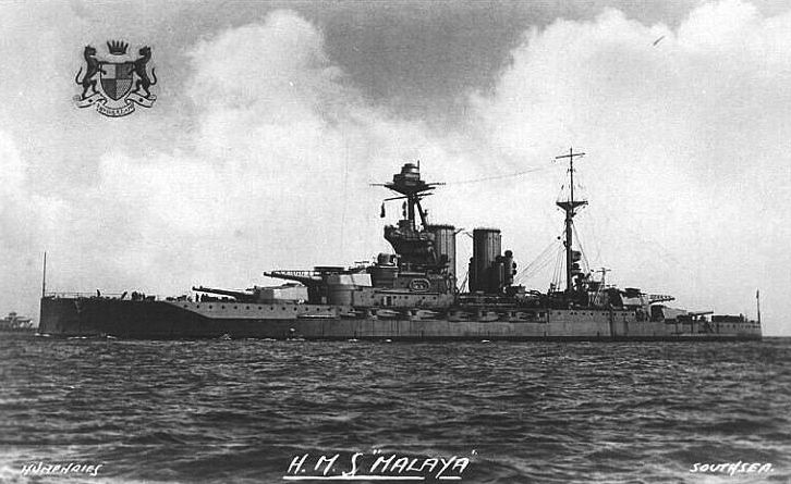 HMS Malaya, a Queen Elizabeth class battleship, pictured in 1915.  As rear ship of the heavily engaged 5th Battle Squadron she was significantly damaged at Jutland.  Modernised (though not to the extent of some of her sisters) she served throughout WW2.