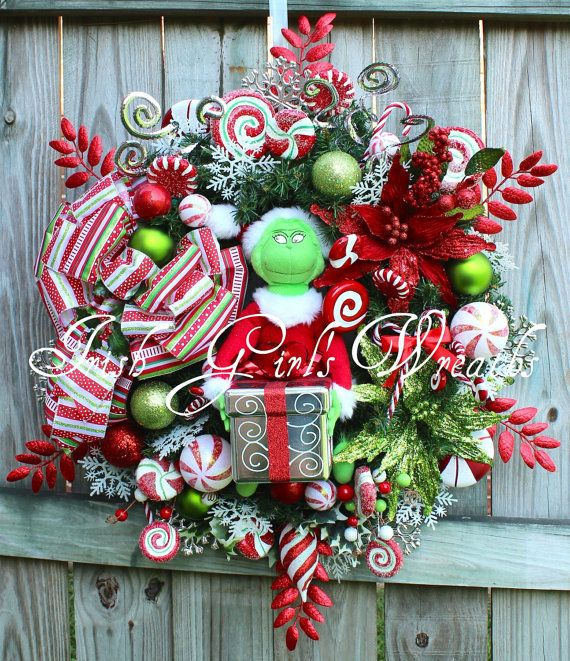 XXL Deluxe Grinch Christmas Wreath, plush by IrishGirlsWreaths, $179.99