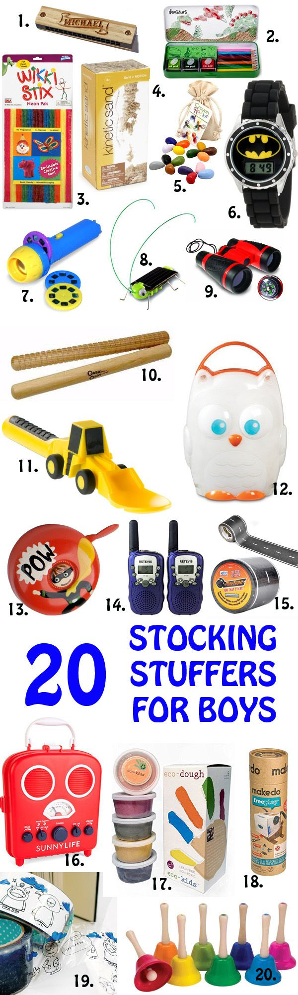 20 Non-Candy Stocking Stuffers for Boys - at Non Toy Gifts