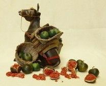 Code #33 - Donkey of wood with watermelons. Asino di legno con basto di angurie. Price €