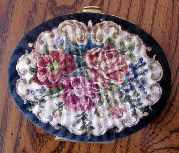 Vintage Needlepoint Compact by NorthShoreAntiques on Etsy
