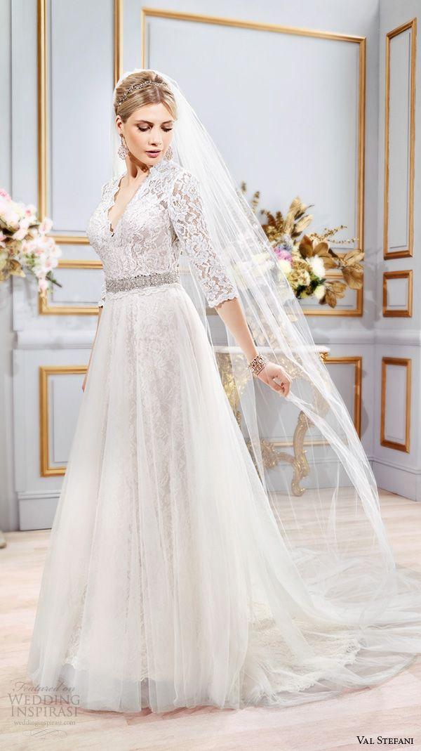 VAL STEFANI #Bridal Spring 2016 #wedding dresses three quarter 3 4 lace sleeves v neck elegant a line tulle overskirt over mermaid dress b8101