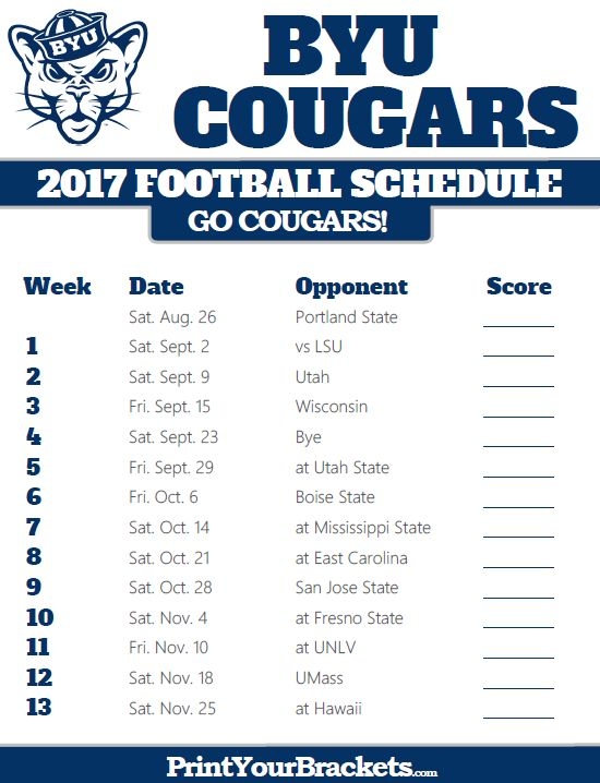 Printable BYU Cougars Football Schedule