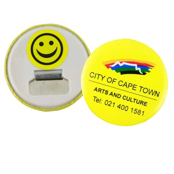 Bottle opener button badge - 58mm Product Size: 58w x 58h  Branding Type: digital Material: rust free metal & plastic