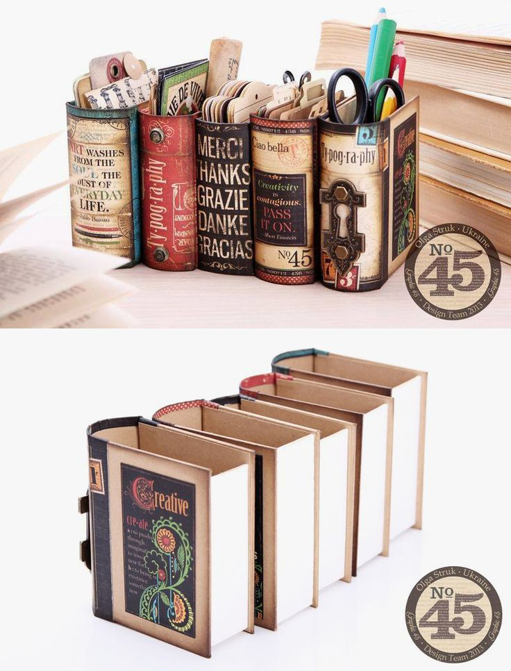 Desk Organizers Made From Book Boxes And Graphics 45 Scrap Booking