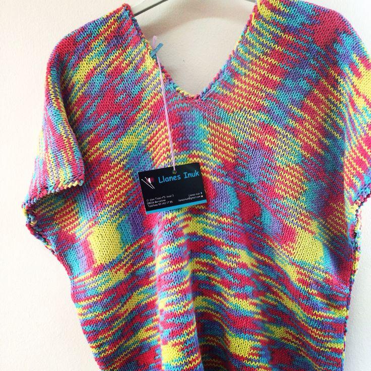 Suéter de manga corta, tejido con algodón jaspeado 100%, a dos agujas