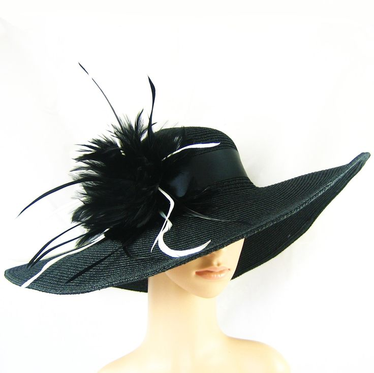 Wide Brim BLACK Hat ...Feathers Women's Dress Wedding Tea Party Beach Cruise Ascot Church Kentucky Derby. $59.97, via Etsy.