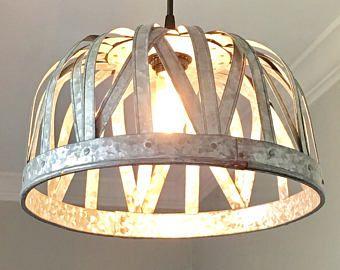 Galvanisé en suspension - plafonnier, éclairage rustique, ferme, vintage, cuisine éclairage