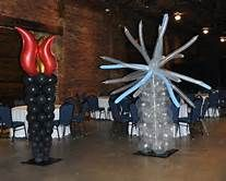 Fire and ice themed prom balloon decor ice side