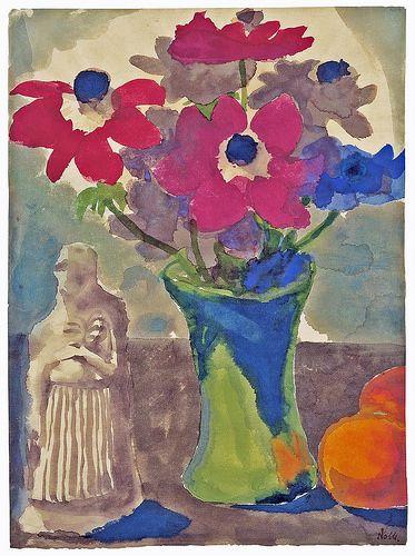 Emil Nolde - Anemonen in grüner Vase, Orangen und eine Skulptur [1925-30]