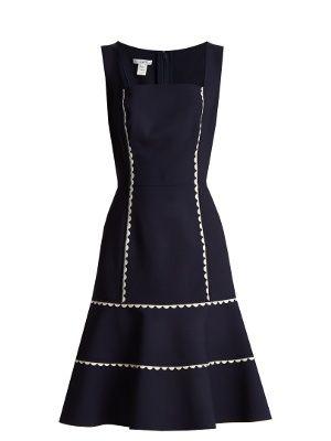 Ric-rac trimmed wool-blend crepe dress | Oscar De La Renta | MATCHESFASHION.COM UK