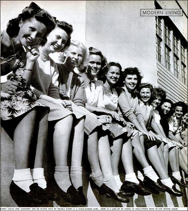 """""""Bobby Socks and Loafers are on the active feet of nearly every U.S. High School girl. Here is a line up of co-eds at Hollywood High in San Mateo, California."""""""