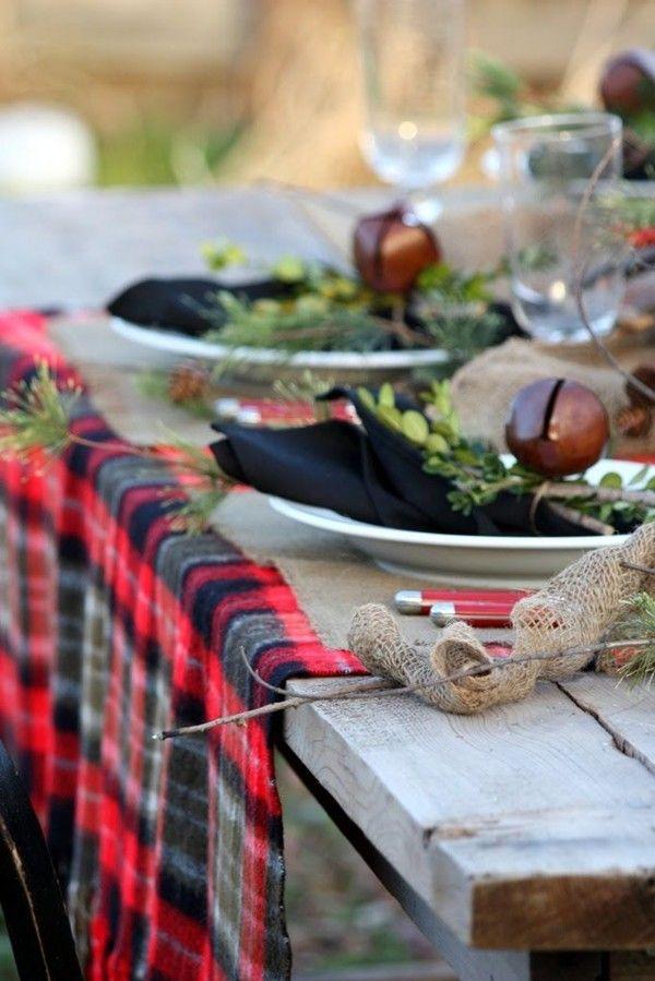 Christmas Red Plaid Tablecloth Red Black Check Tartan