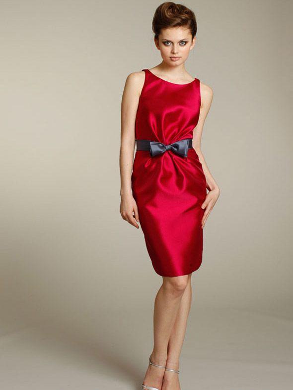 cherry knee length amazing sheath bridesmaid dress with boat neck