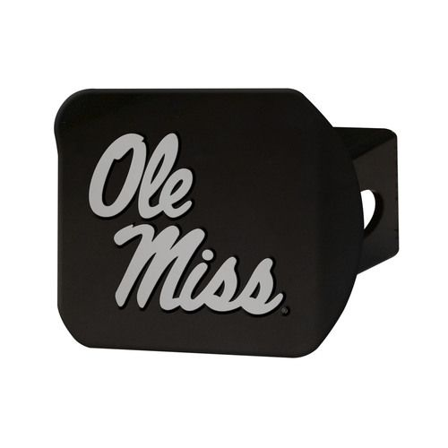 Ole Miss Rebels Heavy Duty 3-D Logo Black Chrome Metal Hitch Cover