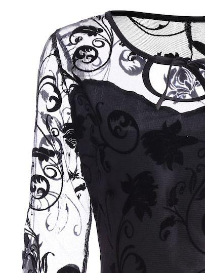 schwarz durchsichtiges netz gebluemt vintage kleider shein