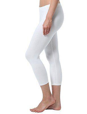 Small (Manufacturer size: S), White, Berydale Women's Capri Leggings, matte, 100