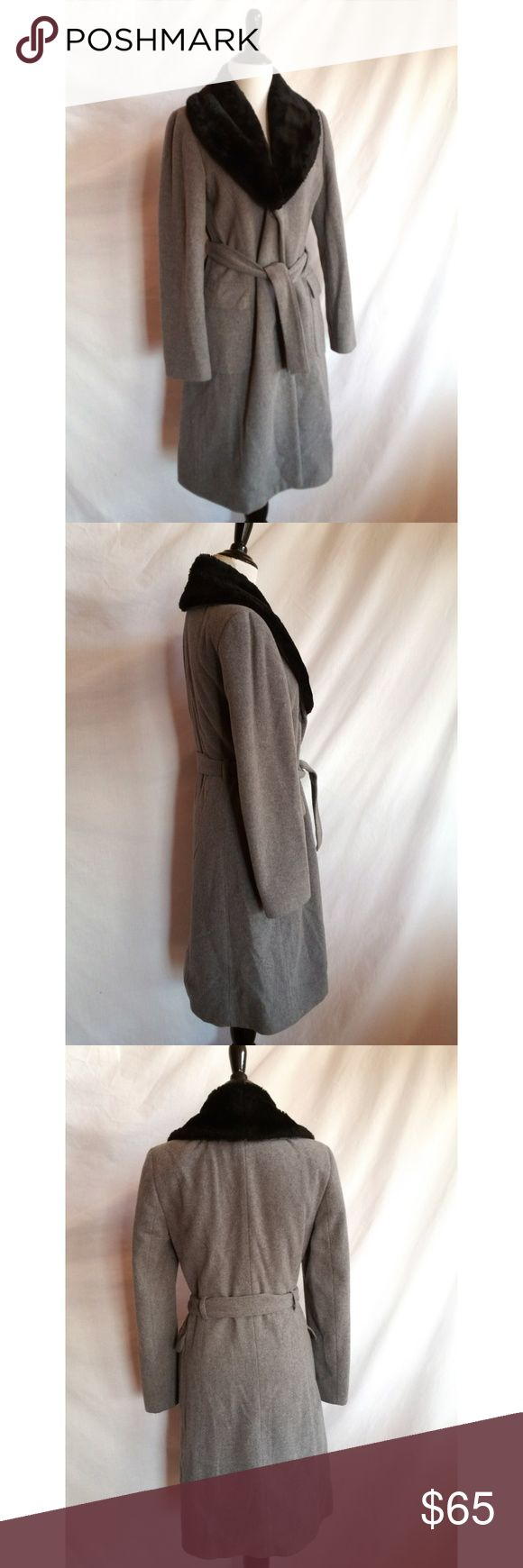 """United Colors of Benetton Size S Belted Coat Gray Size 40, which is like a 4 or a small Made in Italy 80% wool, 20% nylon Dry clean Faux fur color Front pockets  Measurements laying flat:  Armpit to armpit:  18.25"""" Length:  38.25"""" Sleeves: 24"""" United Colors Of Benetton Jackets & Coats"""