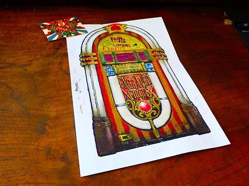 jukebox ...color pencils and black marker..Engraved Circus