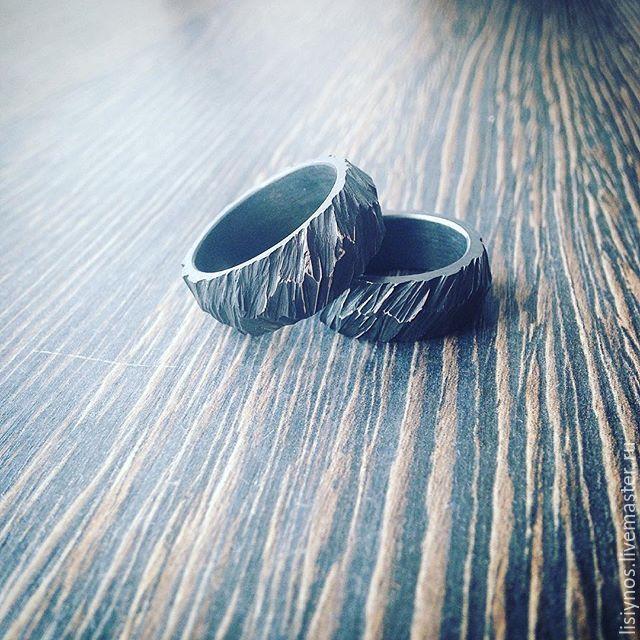 Купить Сет №7 обручальные кольца Молния - черный, кольцо ручной работы