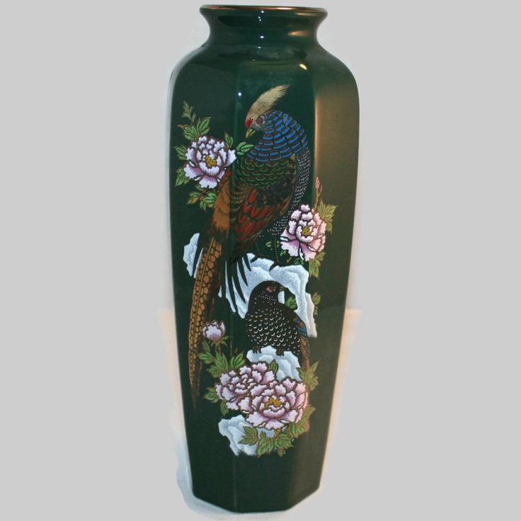Japanese Inspired Decorative Green Vase ~ Handpainted Floral & Bird Artwork ~ Asian Style Decorative Vase ~ Collectible ~ Asian Home Decor by ArtsyVintageBoutique on Etsy