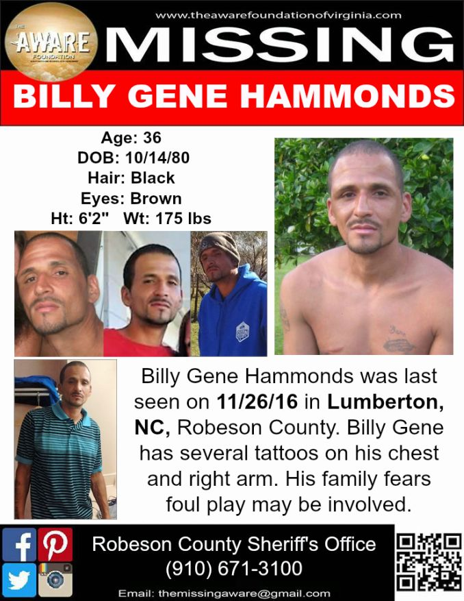 Billy Hammonds missing from North Carolina - Missing Persons of America