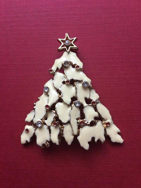 Snowy Tree Christmas Tree Brooch Cream Enamal Multi Colour