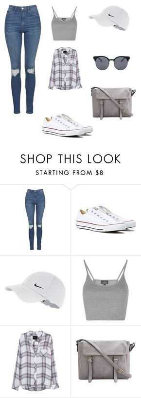 """""""School ✨"""" by fuhrmanhannah ❤ liked on Polyvore featuring Topshop, Converse, NIKE, Rails and Quay"""