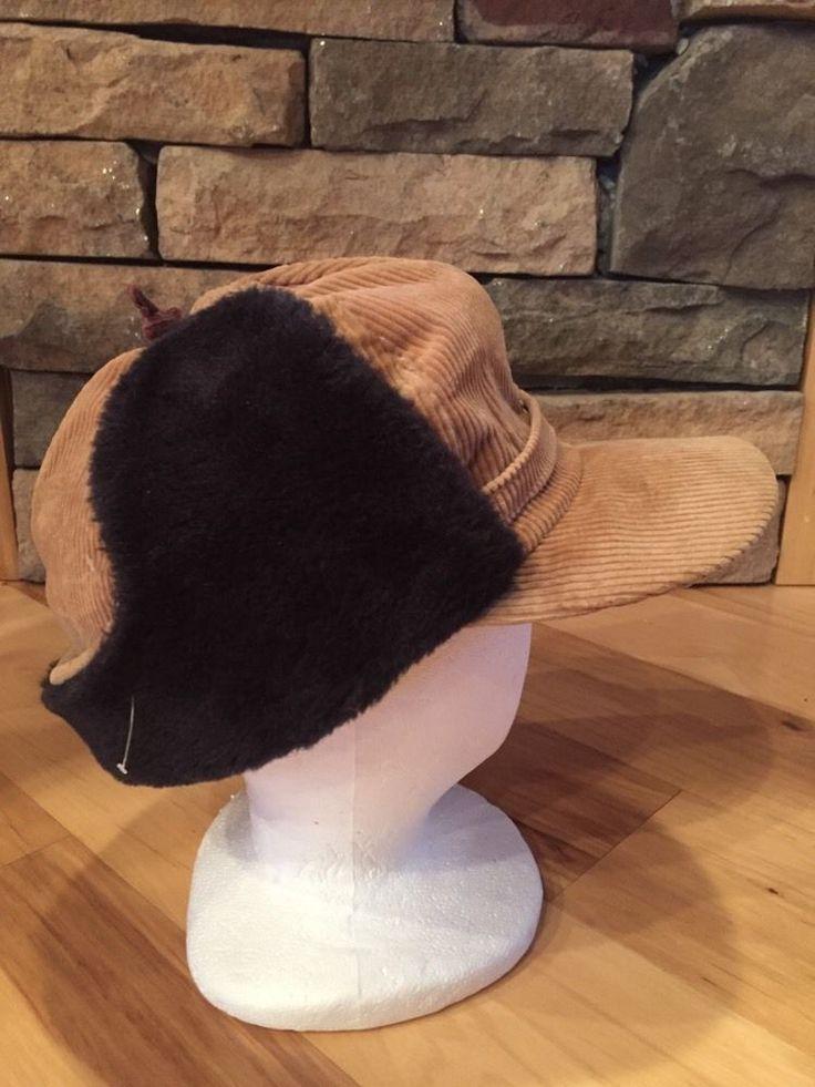 Vintage Mens Medium Corduroy & Fur Hunting Hat Cap Ear Flap Leather Bill & Strap #Cap