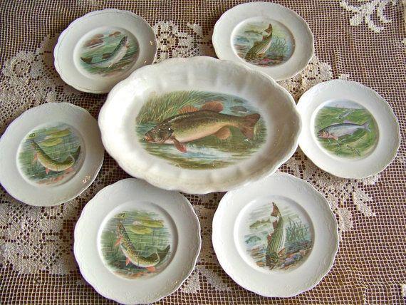 Antique Fish Platter Game Plates Set RK Beck Fishing Lodge Hunting Cabin Decor Trout Stream Signed RK Beck Fisherman Hunter circa 1900s