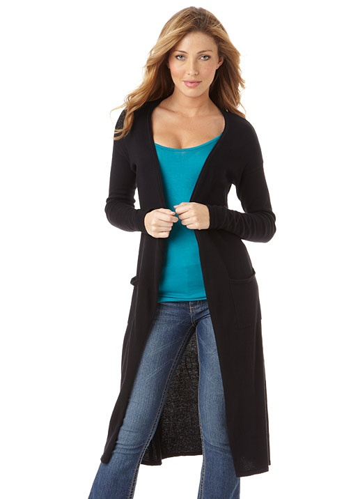 Longer-Length Open Cardigan at Alloy