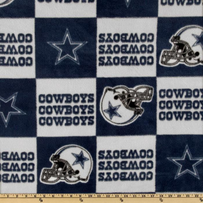 NFL Fleece Dallas Cowboys Blue Blocks Blue/Gray from @fabricdotcom  Cheer on the Dallas Cowboys, your favorite NFL team with this NFL fleece! With an anti-pill face this soft, warm and cozy fleece is perfect for throws, stadium blankets, seat cushions, hats, scarves, pillows, vests, pullovers and much more.