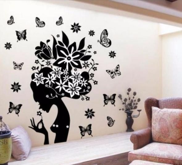 Flowers Fairy Wall Stickers Wall Decor Stickers Butterfly Wall
