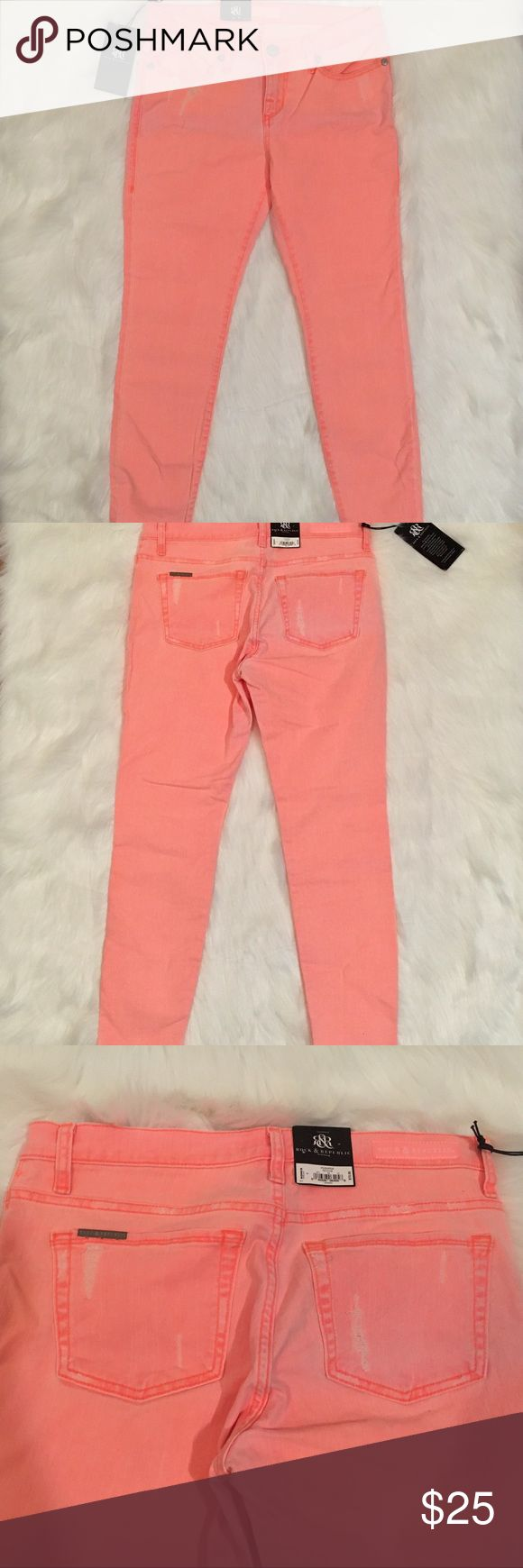 Skinny neon jeans Skinny jeans in orange 'Push pop' from Rock & Republic. Make a statement in these fun jeans! Small areas of intentional distressing. New with tags Rock & Republic Jeans Skinny