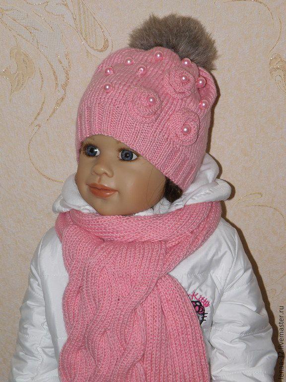 Купить Шапка для девочки (шапка+ шарф) - однотонный, шапка вязаная, шапка зимняя, шапка для девочки