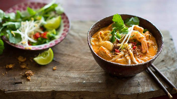 One of our top-rating recipes of all time: Malaysian #laksa made from fresh ingredients and a commercial laksa paste. Watch the video recipe.