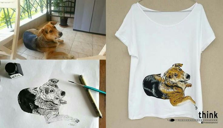 Handpainted dog illustration on white t-shirt.