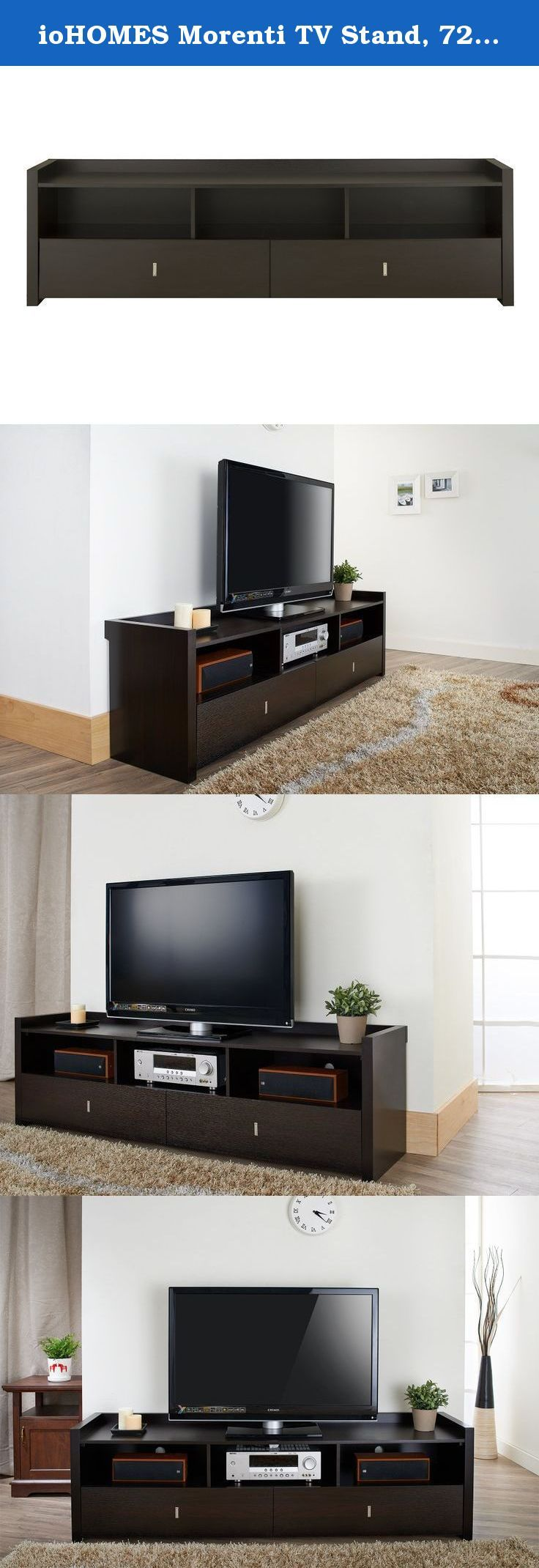 """ioHOMES Morenti TV Stand, 72-Inch, Cappuccino. The Morenti 72"""" TV Stand is a contemporary gem for your modern décor. The roomy 72 inch tabletop can accommodate most large television sets and the raised trim ensures items stay in place. Three storage compartments house your electronic devices and rear wiring access provides another user-friendly feature. Two extra large drawers on gliders provide easy access storage for DVDs, video games, remote control units and others. Sturdy wooden..."""