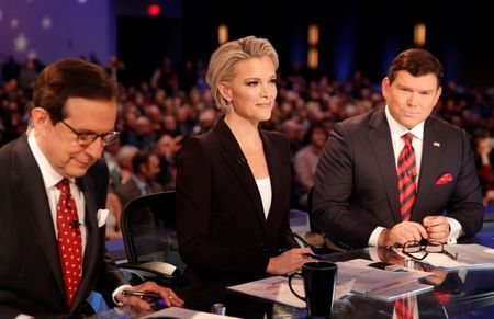 Fox News Channel anchors and debate moderators Wallace, Kelly and Baier begin the debate held by Fox News for the top 2016 U.S. Republican presidential candidates in Des Moines