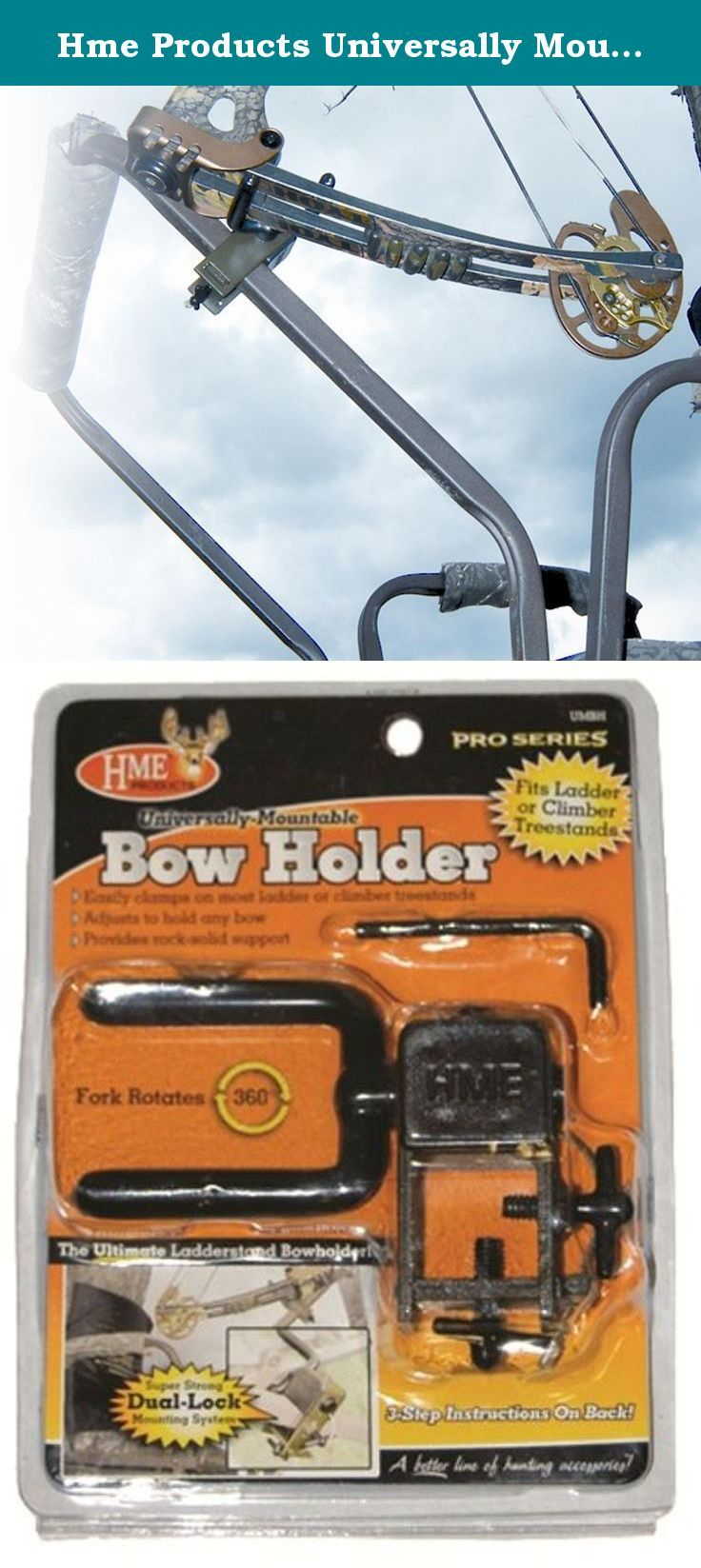 "Hme Products Universally Mountable Bow Holder, Olive. Yesa bow holder that will attach to virtually any ladder or climber treestand. With its special ""slide-n-lock"" mounting system, the hunter can mount the Bow Holder in seconds (no tools required). We have added a side mount lock. This side mount lock provides four points of contact for a rock solid attachment. We challenge you to find a more user-friendly and stable bow holder. The fork rotates 360° to accommodate any bow limb and riser..."