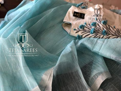 TS-SR-397.Sold.Linen silver checks saree with a cream worked blouseFor orders/queriesCall/ whats app on8341382382 Mail tejasarees@yahoo.com. 31 December 2017