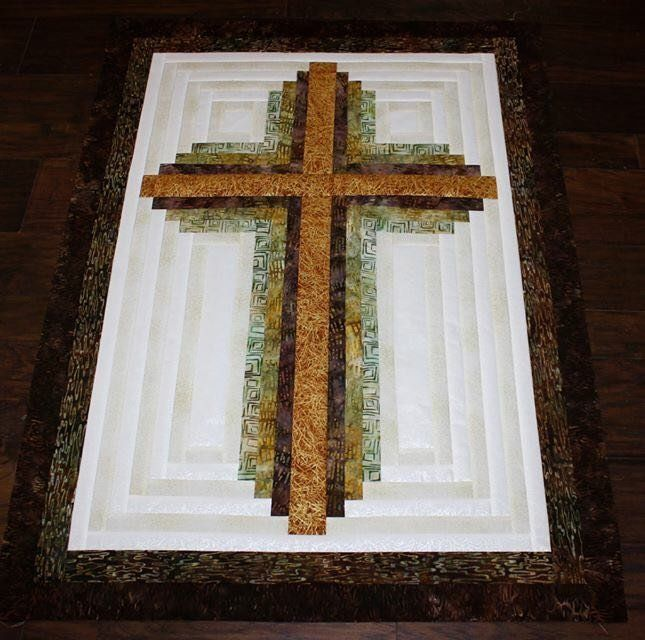 """Log Cabin Cross, wallhanging kit. Designed by Judit Hajdu. Made with quilt shop quality fabrics by Robert Kaufman and Timeless Treasures. Finished size: 33"""" x 45"""""""