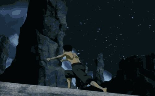 """#Aang #gif ____ """"Ok I just want to point out how powerful of a bender Aang is here. I Mean he sees the explosion. But what does he do? He uses his air bending to encase the blast and uses the energy from the blast to push him up and away from it. I mean that takes a lot of power to do something like this! Aang seriously was a great bender at such a young age."""" ~Blogger's comment"""